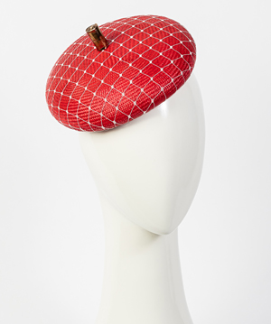 Fashion hat Red Bergamo, a design by Melbourne milliner Louise Macdonald