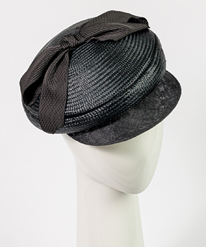 Fashion hat Seraina Cap in Black, a design by Melbourne milliner Louise Macdonald