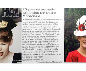 The Hat Magazine highlighted Louise Macdonald's 20 years of millinery in 2011