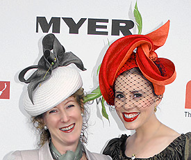 Melbourne milliner Louise Macdonald (with model Livia De Sanctis) won third prize in the Professional Millinery Competition on Oaks Day 2011