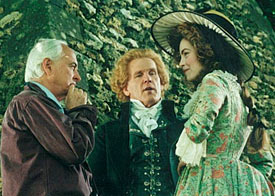 Ismail Merchant, Nick Nolte and Greta Scacchi (left to right) in the set of Jefferson in Paris