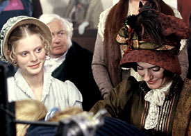 Emilia Fox (left) and Anna Chancellor in Pride and Prejudice