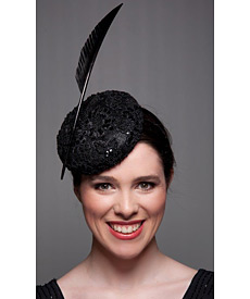 Fashion hat Black Sequin Beret, a design by Melbourne milliner Louise Macdonald