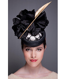 Fashion hat Black and White Elvis, a design by Melbourne milliner Louise Macdonald
