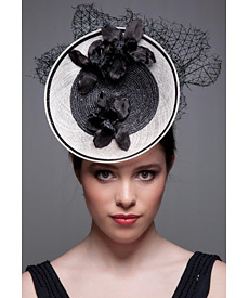 Fashion hat Black and White Grimaldi, a design by Melbourne milliner Louise Macdonald