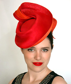Melbourne milliner Louise Macdonald's sweeping sculpted fashion hat, designed exclusively for Hugo Boss