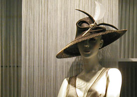 Fashion hat by Louise Macdonald, complete with Boss Woman dress, won the Collins Street Precinct Millinery Competition prize for best hat in 2006