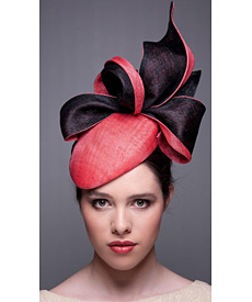 Fashion hat Watermelon and Black LaFayette Beret, a design by Melbourne milliner Louise Macdonald