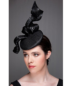Fashion hat Black Tennessee Twist, a design by Melbourne milliner Louise Macdonald