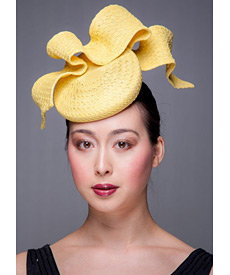 Fashion hat Yellow Tunica Beret, a design by Melbourne milliner Louise Macdonald