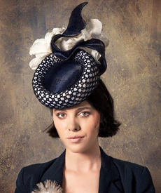 Fashion hat Navy and White 'Ambrosia' Headpiece, a design by Melbourne milliner Louise Macdonald
