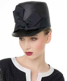 Fashion hat Navy Squared Cap, a design by Melbourne milliner Louise Macdonald