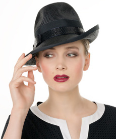 Fashion hat Navy Fedora, a design by Melbourne milliner Louise Macdonald