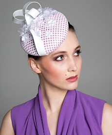Fashion hat White 'Ines' Beret, a design by Melbourne milliner Louise Macdonald