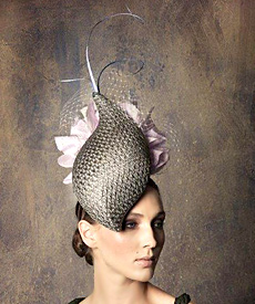 Fashion hat 'Gabrielle' with Lavender Flowers, a design by Melbourne milliner Louise Macdonald