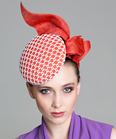 Fashion hat Orange and White 'Stella' Headpiece, a design by Melbourne milliner Louise Macdonald