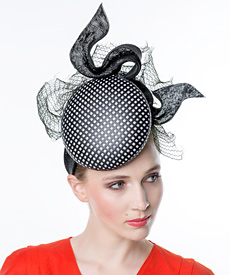 Fashion hat Black and White Stella, a design by Melbourne milliner Louise Macdonald