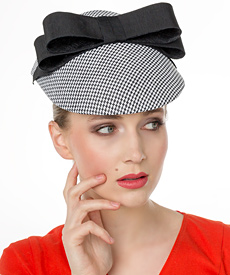 Fashion hat Hounds Tooth Visor, a design by Melbourne milliner Louise Macdonald