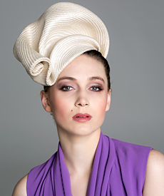Fashion hat Cream Buntal Turban, a design by Melbourne milliner Louise Macdonald
