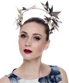 Fashion hat Ecru and Pewter Artemis Leather Halo, a design by Melbourne milliner Louise Macdonald