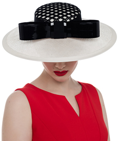Fashion hat Bel Ombre in Black and Ivory, a design by Melbourne milliner Louise Macdonald