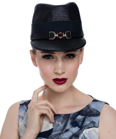 Fashion hat Navy Polo Cap, a design by Melbourne milliner Louise Macdonald