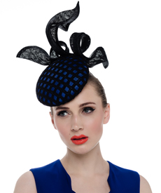 Fashion hat Praslin Headpiece in Royal and Black, a design by Melbourne milliner Louise Macdonald