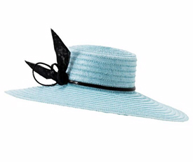 Fashion hat Zina in Pale Blue and Black, a design by Melbourne milliner Louise Macdonald