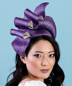 Fashion hat Josephine in Violet and White, a design by Melbourne milliner Louise Macdonald