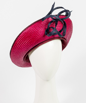 Fashion hat Lena Grande Beret in Plum, a design by Melbourne milliner Louise Macdonald