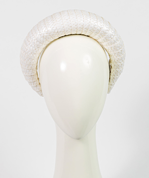 Fashion hat Milano in White Gloss Braid, a design by Melbourne milliner Louise Macdonald