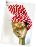 Pleated headpiece from millinery Lynn Lim