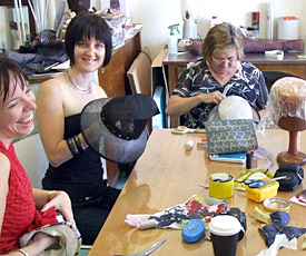 Millinery students create their fashion hats during workshop at Louise Macdonald's studio in Melbourne