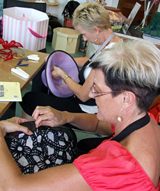 Millinery students creating their fashion hats during Louise Macdonald's Summer Schools in Melbourne (2010)