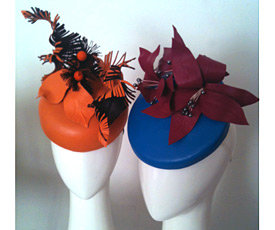 Leather can be a transeasonal millinery material; these leather headpieces were made by students in the Millinery Summer School 2014