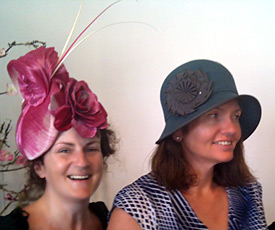 Maria (left), a millinery student from Ireland, made this silk abaca and leather hat in the Millinery Summer School 2014, then won the Millinery Fashion Award with her creation at the Hobart Races