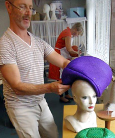 Buntal straw hats being made during the Millinery Summer School 2014 at Louise Macdonald's studio in Melbourne