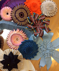 Ribbon cockades made by millinery students in the Ribbon Origami 2015 course at Louise Macdonald's studio in Melbourne