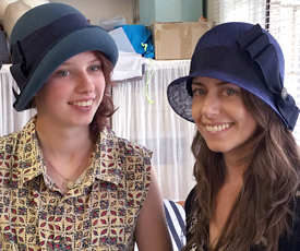 Millinery students show off their birdcage veils at Louise Macdonald's studio in Melbourne