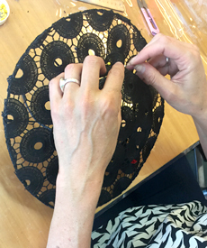 Making a lace boarder with milliner and tutor Lynnette Lim in millinery course at Louise Macdonald's studio in Melbourne
