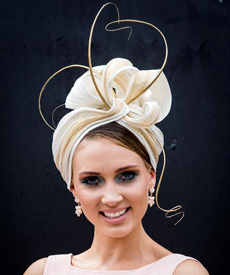 Model Morgane Hunt wore Louise Macdonald Milliner's cream and gold turban on Oaks Day 2015, one of the ten finalists in the Professional Millinery Award