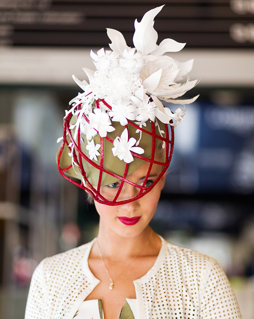 Louise's entry for the Oaks Day 2014 professional millinery competition was worn by Morgane Hunt (with make up by Maren Holm). The Victorian Racing Club chose the model, among millinery award contestants, to feature in the Spring Racing Carnival 2015 advertising campaign. Watch out for Morgane wearing Louise Macdonald Millinery on your TV screens later in the year! The outfit was also featured in The Wall Street Journal, clicked by Jo Stevens