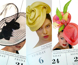 Six fashion hats by Melbourne milliner Louise Macdonald were selected for the international calendar 365 Days of Hats (2014), including Brooklyn (center) and Carmen (right)