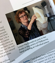 Melbourne milliner Louise Macdonald was featured in the January 2020 issue of the Dutch magazine Hatlines, in a chat with one of her successful millinery students Amanda Smith