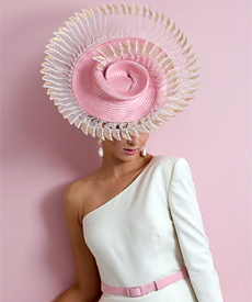 Louise Macdonald Milliner's giant hat at Collins Place as part of Melbourne Fashion Week 2019