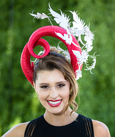 Louise Macdonald's entry in the Professional Millinery Award at Oaks Day Flemington 2016; the headpiece was worn by Emily Nash (makeup by Maren Holm; photo by Lee Sanders)